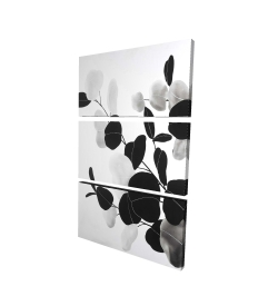 Canvas 24 x 36 - 3D - Grayscale branches with leaves