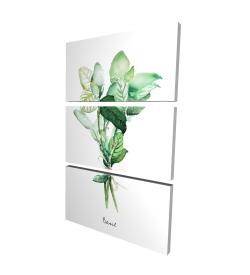 Canvas 24 x 36 - 3D - Tied up basil leaves bundle - en