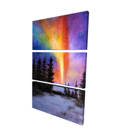 Canvas 24 x 36 - 3D - Aurora borealis in the forest