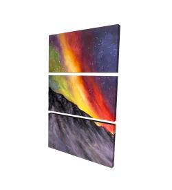 Canvas 24 x 36 - 3D - Aurora borealis in the mountain