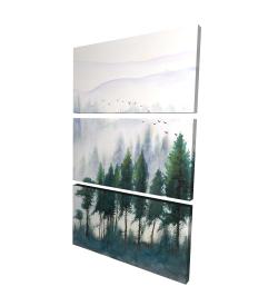 Canvas 24 x 36 - 3D - Mountains landscape in watercolor