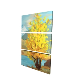 Canvas 24 x 36 - 3D - Lake landscape with a tree and reflection