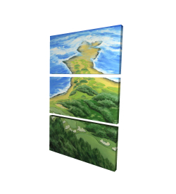 Canvas 24 x 36 - 3D - Island overhead view with waves