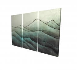 Toile 24 x 36 - 3D - Montagnes en tons de gris
