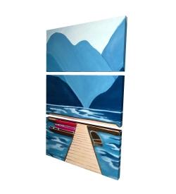 Canvas 24 x 36 - 3D - Lake, quai & mountains