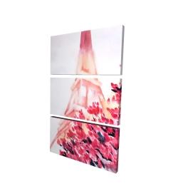 Canvas 24 x 36 - 3D - Pink eiffel tower