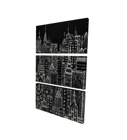 Canvas 24 x 36 - 3D - Illustrative city towers