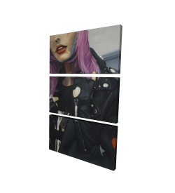 Canvas 24 x 36 - 3D - Young punk woman