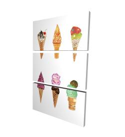 Canvas 24 x 36 - 3D - Ice cream cones