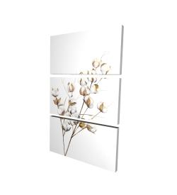 Canvas 24 x 36 - 3D - A branch of cotton flowers