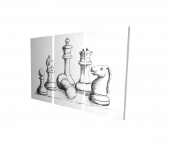 Canvas 24 x 36 - 3D - Chess game pieces