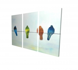 Canvas 24 x 36 - 3D - Perched abstract birds