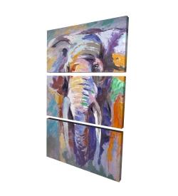 Canvas 24 x 36 - 3D - Elephant in pastel color