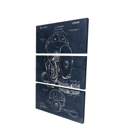 Canvas 24 x 36 - 3D - Blueprint football helmet