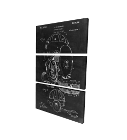 Canvas 24 x 36 - 3D - Black blueprint of a football helmet