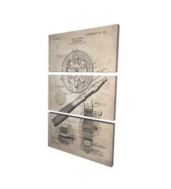 Canvas 24 x 36 - 3D - Beige blueprint of a fishing reel