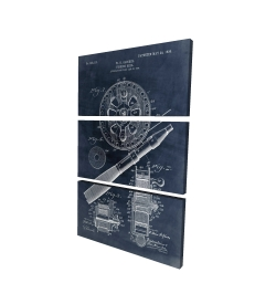 Canvas 24 x 36 - 3D - Blueprint of a fishing reel