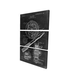 Canvas 24 x 36 - 3D - Black blueprint of a fishing reel