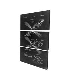 Canvas 24 x 36 - 3D - Black blueprint of a fish lure