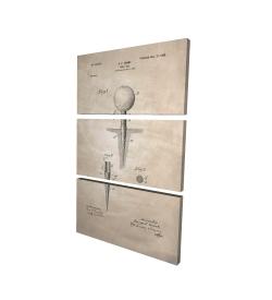 Canvas 24 x 36 - 3D - Beige blueprint of golf tee