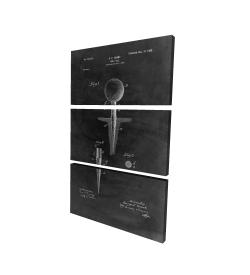 Canvas 24 x 36 - 3D - Black blueprint of golf tee