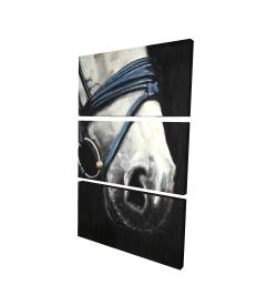 Toile 24 x 36 - 3D - Cheval avec harnais d'attelage