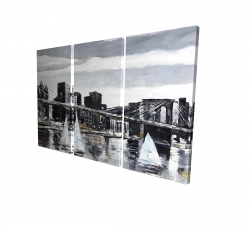 Canvas 24 x 36 - 3D - Brooklyn bridge with sailboats