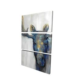 Canvas 24 x 36 - 3D - Blue moose