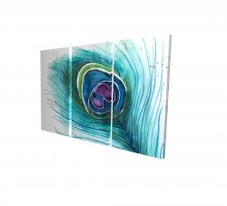 Canvas 24 x 36 - 3D - Peacock feather closeup