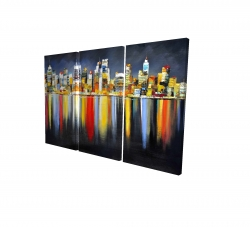 Canvas 24 x 36 - 3D - Colorful reflection of a cityscape by night
