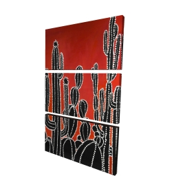 Canvas 24 x 36 - 3D - Black tall cactus