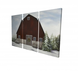 Canvas 24 x 36 - 3D - It's winter on the farm