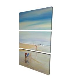 Canvas 24 x 36 - 3D - Children at the beach