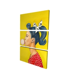 Canvas 24 x 36 - 3D - Retro woman with beautiful ponytail