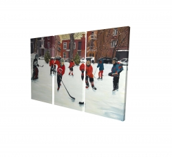 Canvas 24 x 36 - 3D - Young hockey players