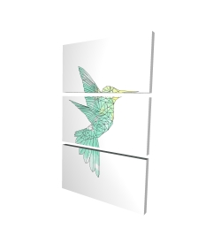 Canvas 24 x 36 - 3D - Geometric hummingbird