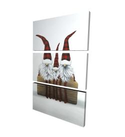 Canvas 24 x 36 - 3D - Three christmas gnomes