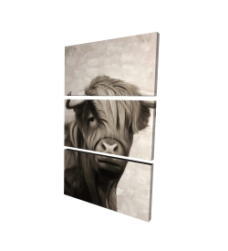 Canvas 24 x 36 - 3D - Highland cattle sepia