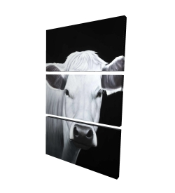Canvas 24 x 36 - 3D - White cow