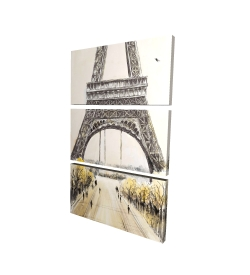 Canvas 40 x 60 - 3D - Eiffel tower with flying birds