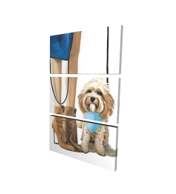 Canvas 24 x 36 - 3D - Fashionable cavoodle dog