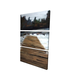 Canvas 24 x 36 - 3D - Dock and lake