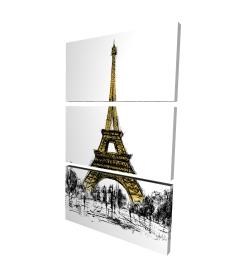 Canvas 24 x 36 - 3D - Outline of eiffel tour