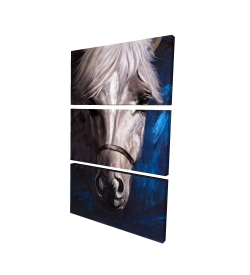 Canvas 24 x 36 - 3D - White horse on blue background
