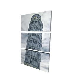 Canvas 24 x 36 - 3D - Tower of pisa in italy