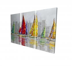 Canvas 24 x 36 - 3D - Sailboats in the wind