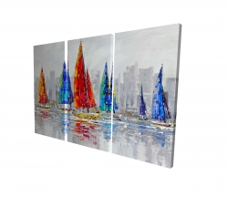 Canvas 24 x 36 - 3D - Colorful boats near a gray city