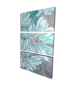 Canvas 24 x 36 - 3D - Three little abstract blue flowers