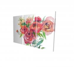 Canvas 24 x 36 - 3D - Watercolor bouquet of flowers