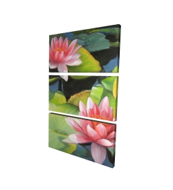 Canvas 24 x 36 - 3D - Water lilies and lotus flowers